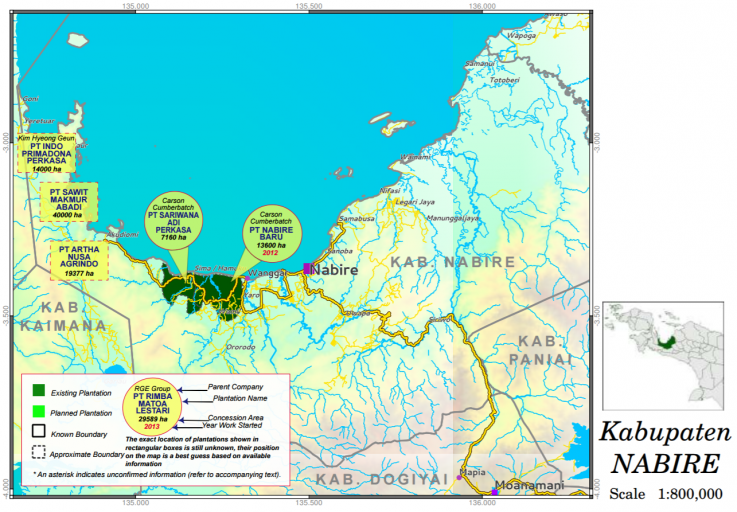 An image from awas MIFEE's West Papua Oil Palm Atlas shows PT Nabire Baru's concession in Indonesia's easternmost Papua province.