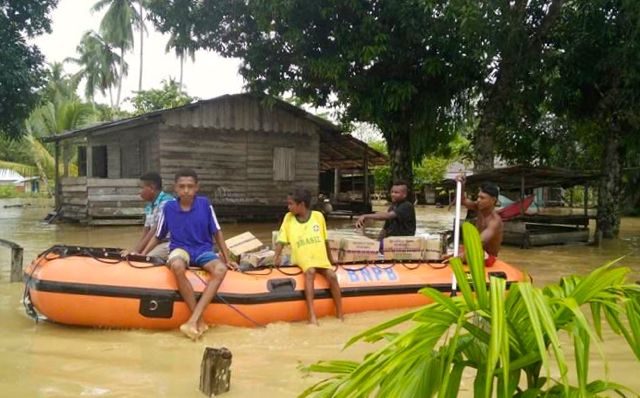 Sima village was severely flooded in March, allegedly a result of by deforestation PT Nabire Baru. Photo courtesy of Indonesia's National Disaster Management Agency