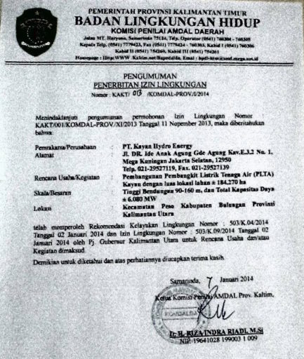 An image of the project's environmental permit, indicating the extent of the expected flooding. Image courtesy of Raga Candradimuka.