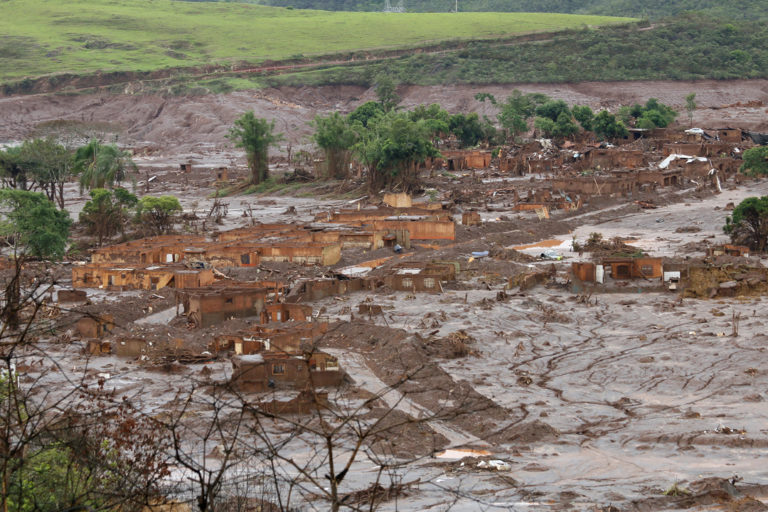 The village of Bento Rodrigues in Brazil after the Samarco mine disaster.