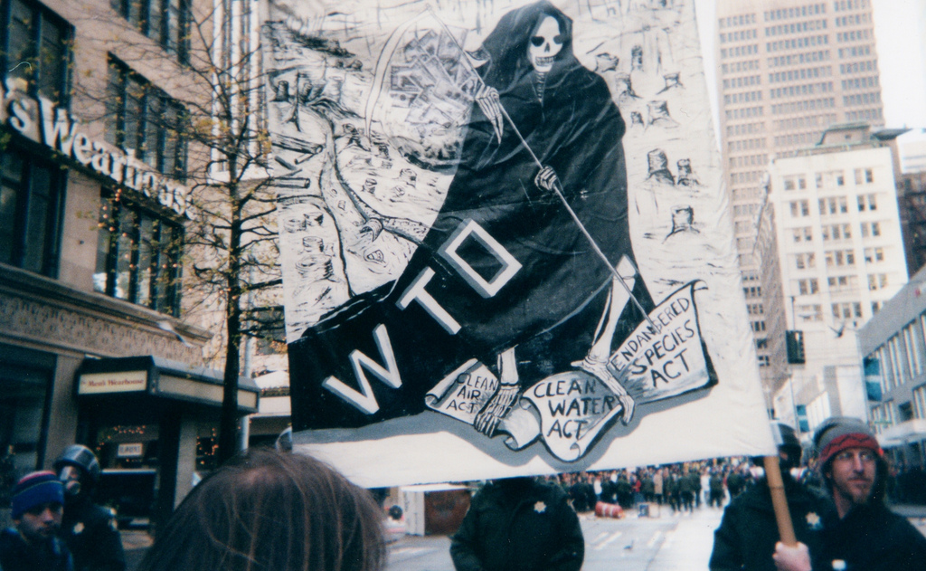 The 1999 World Trade Organization protest in Seattle, Washington. NAFTA and other international trade agreements have sparked planet-wide demonstrations, as citizens reject what they see as corporate abuses of democracy, the environment and indigenous cultures. Photo by geraldford licensed under the Creative Commons Attribution-Share Alike 2.0 generic license.