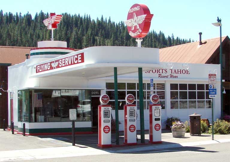 When Ethyl Corp. tried to introduce gasoline additive MMT to the California market, many mom-and-pop style gas bars still existed in parts of the state, with aging storage tanks. This restored 'Flying A' station in Truckee, CA has been transformed into a clothing store. Photo by Don Graham licensed under the Creative Commons Attribution-Share Alike 2.0 generic license