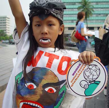 NAFTA lawsuits that benefited corporate profits at the expense of democratic institutions and environmental regulations helped trigger global resistance to international trade agreements. A WTO protest in Jakarata, Indonesia. Photo by Jonathan McIntosh licensed under the Creative Commons Attribution-Share Alike 2.5 generic license