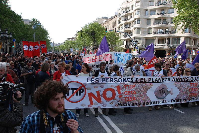 Public outrage over NAFTA dispute resolutions favoring corporations over people and the environment helped catalyze opposition to other trade agreements. A protest in Barcelona, Spain against the still being negotiated TTIP. Photo by horrapics licensed under the Creative Commons Attribution 2.0 Generic license