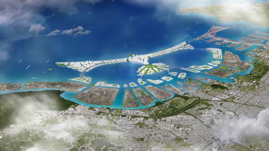 An illustration showing the 17 artificial islands, part of the planned Jakarta Bay reclamation development project. Image courtesy of FISIP Universitas Indonesia.