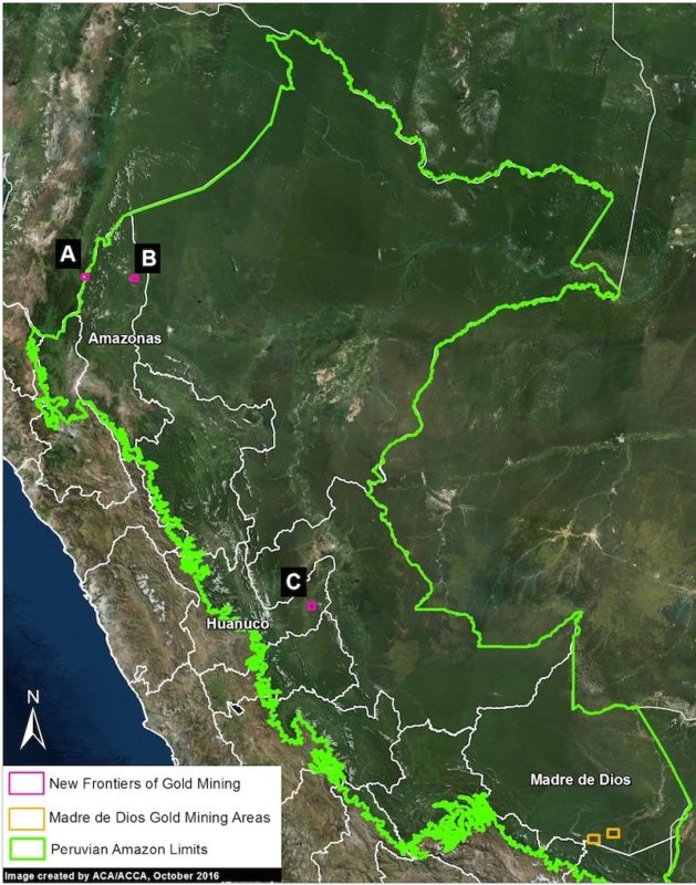 Peru's gold mining frontiers. Image courtesy of MAAP