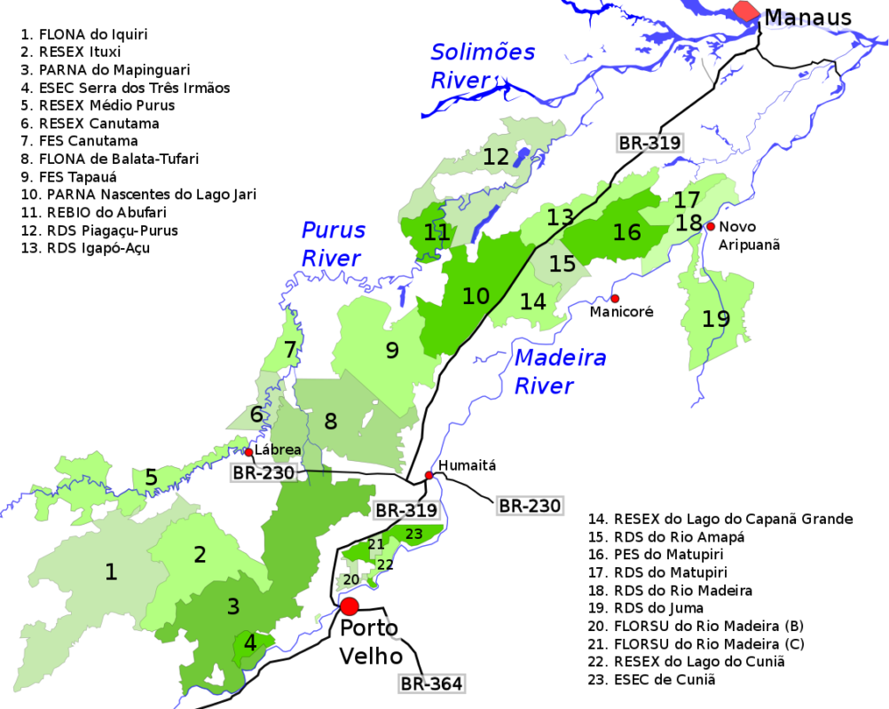 Map of conservation units forming a biodiversity corridor in the Brazilian Amazon's Purus-Madeira interfluvial. Photo credit: Aymatth2.