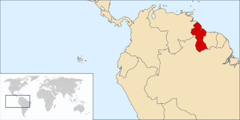 Location map of Guyana showing its position on the northeast coast of South America. Source Wikimedia Commons