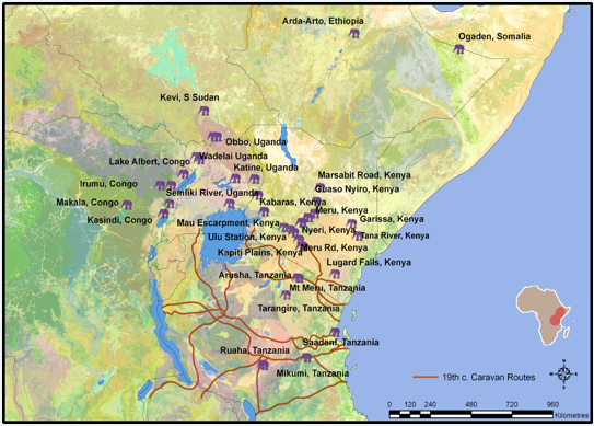 East African sites where the scientists determined many 19th and 20th century ivory trade elephants originated. Map courtesy of Ashley Coutu.