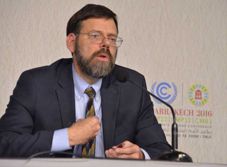 "Jonathan Pershing, the lead US negotiator in Marrakesh, notes that it is in every nation's interest to combat climate change and rapidly develop clean energy technology. ""I'm hearing the same from the Europeans, the Brazilians, from Mexico and Canada. Even from smaller nations like Costa Rica and Colombia. I don't think the US change [to Trump] is going to change the development pathway of others,"" he told reporters at a COP22 press conference. Photo by Justin Catanoso"