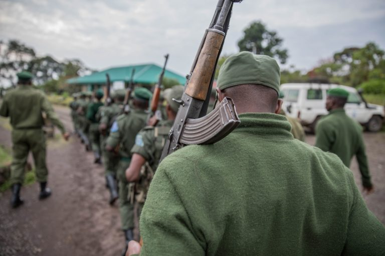 Kahuzi-Biega National Park rangers stand in formation at the park in October, 2016. Photo by Thomas Nicolon for Mongabay.
