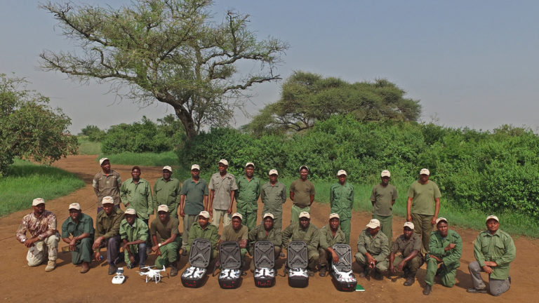 Rangers in training pose for a class picture at the end of a workshop held at the Grumeti Game Reserve in the western Serengeti region this year. Credit: David Olson/Biodiversity and Wildlife Solutions.