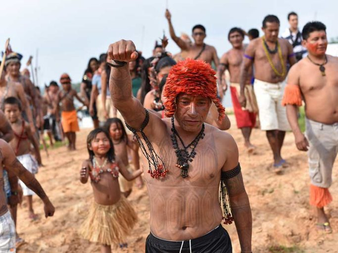 An indigenous alliance demanded Brazil halt Amazon dam construction at the Teles Pires River Assembly in 2015. Photo courtesy of Amazon Watch