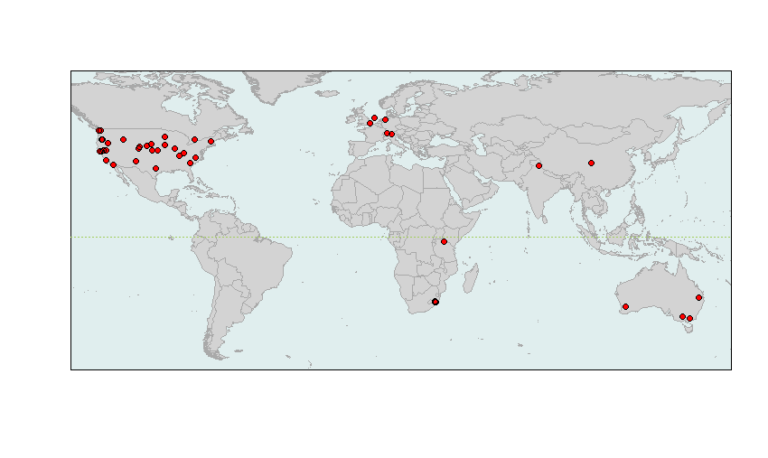 The global locations of sites in the new grassland study. Map courtesy of Elizabeth Borer.