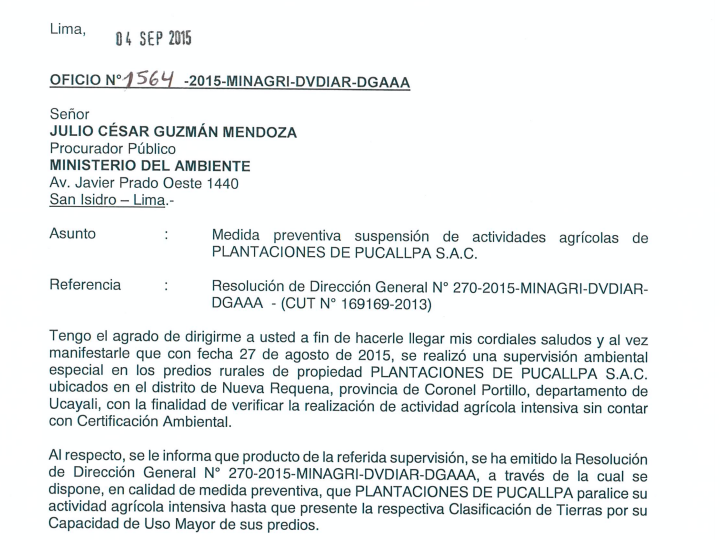 Plantaciones de Pucallpa SAC's stop-work order issued by the Peruvian government. Photo courtesy of Forest Peoples Programme (FPP)