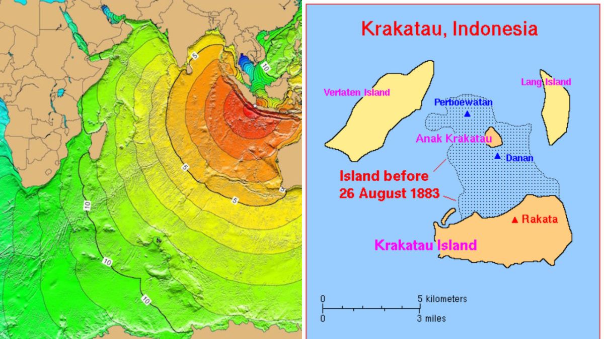 Krakatoa's 1883 eruption devastated the ares, creating tsunamis (illustrated on the left) that killed around 36,000 people. Images courtesy of NOAA and USGS, via Wikimedia Commons.