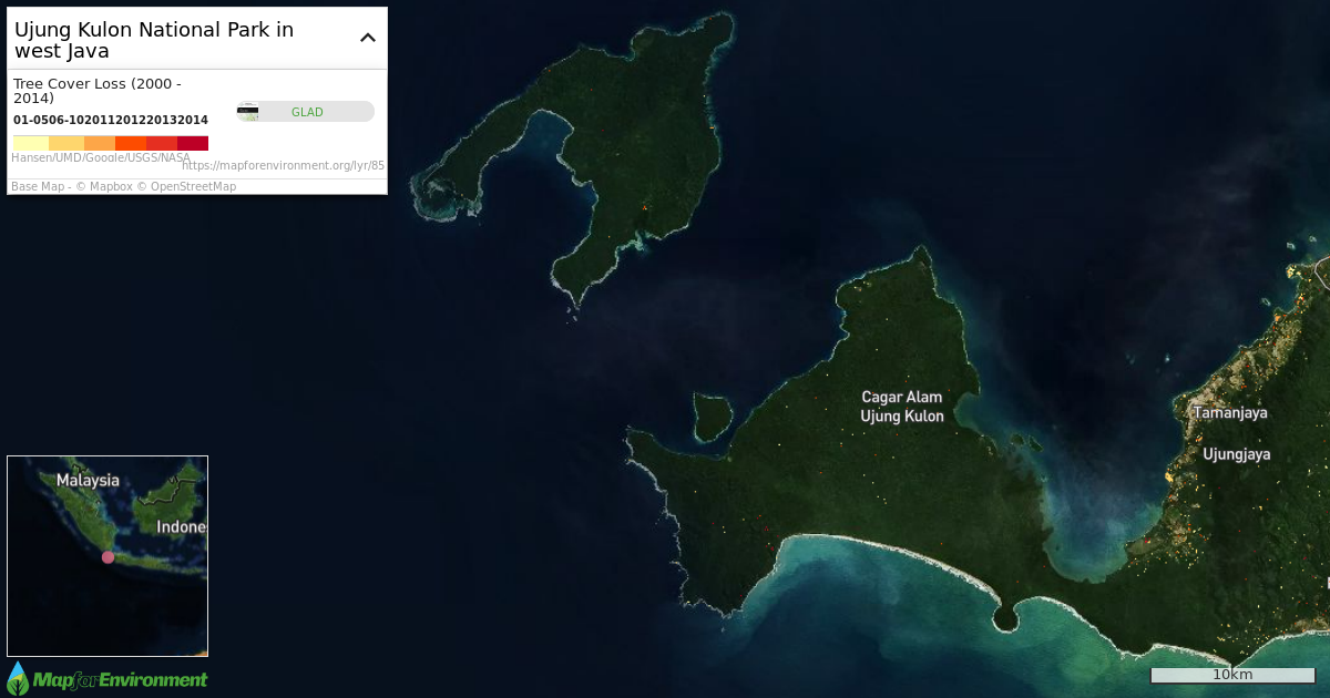 Ujung Kulon National Park sits on the southwestern tip of Java. Map created using Map For Environment.