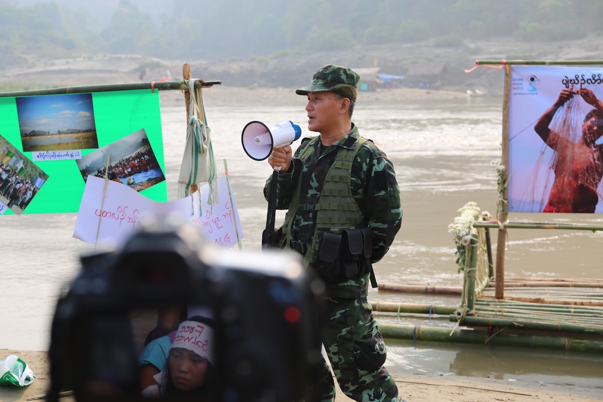 General Boh Kyaw Heh, Vice Chief of Staff of the Karen National Liberation Army speaks at Ei Thu Hta IDP camp on International Rivers day 2016. Photo by Demelza Stokes.