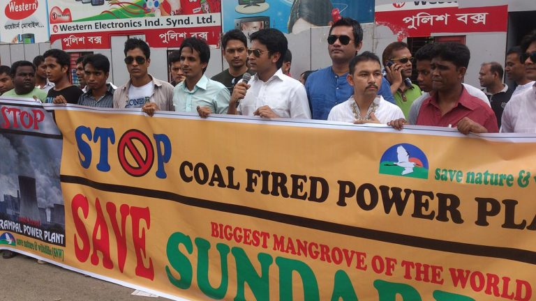 Protest against Rampal coal fired power plant. Photo by GManwar. Source: Wikimedia Commons, licensed under CC BY-SA 4.0.