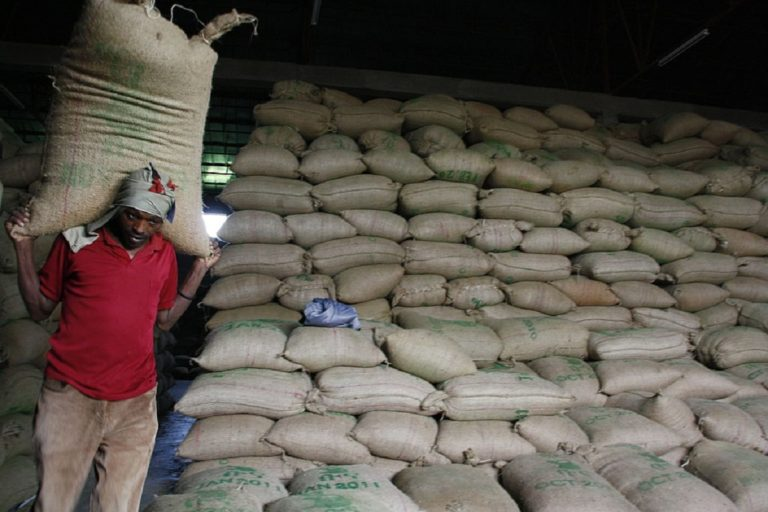 Bags of coffee at the Ethiopian Commodity Exchange's warehouse in Awassa. Photo courtesy of DFID - UK Department for International Development