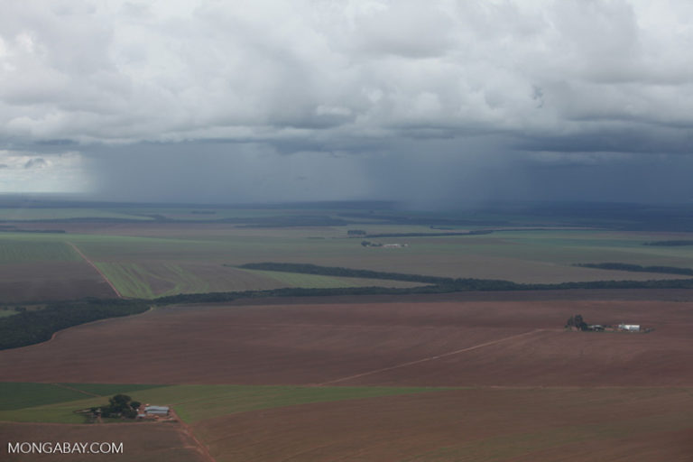 A storm over an agricultural landscape in the Braziliam Amazon. The Amazon forest generates more than half of its own rainfall, and deforestation affects the way water is recycled into the atmosphere, with forest clearance leading to more drought. Scientists warn that the local and global climate could be affected by the Tapajós Complex. Photo by Rhett A. Butler
