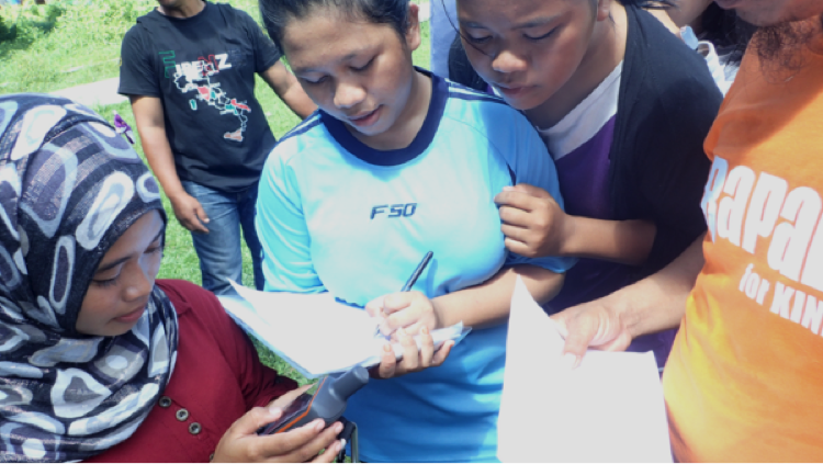 Citizen Science – such as learning how to map your territory – has been explosively successful among Indigenous Peoples worldwide over the last two decades. Here the youth of Village X learn how to use a GPS.