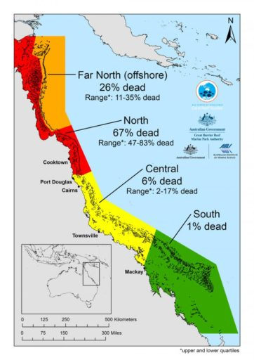 Average coral loss along each section of the Great Barrier Reef. Map courtesy of ARC Centre of Excellence for Coral Reef Studies.