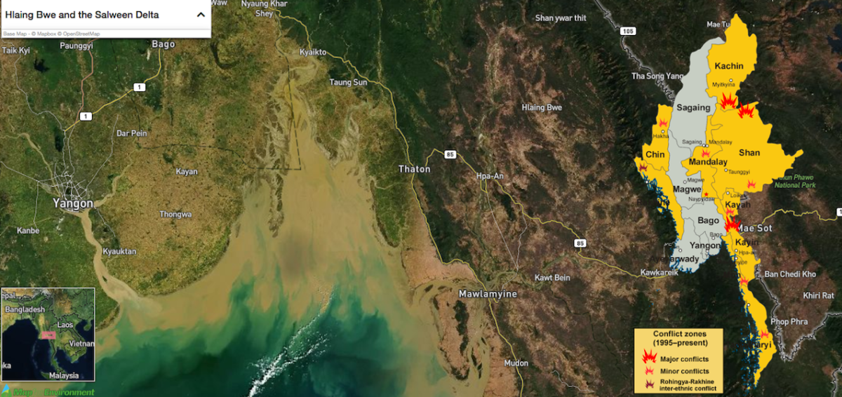Hlaingbwe in Karen (Kayin) State, and the Salween Delta. Inset shows conflicts from the 1990s until early 2016. Map courtesy of Map for Environment, inset courtesy of CenterLeftRight and Aoetearoa/Wikimedia Commons.