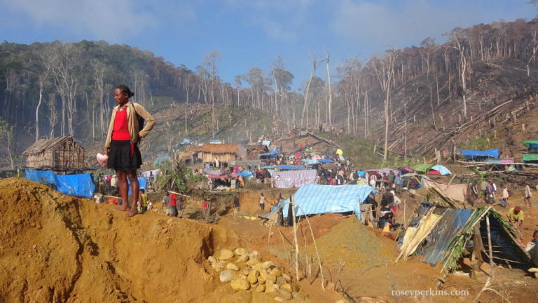 Miners have carved out a settlement in the area of a sapphire-rich site in eastern Madagascar. Photo courtesy of Rosie Perkins