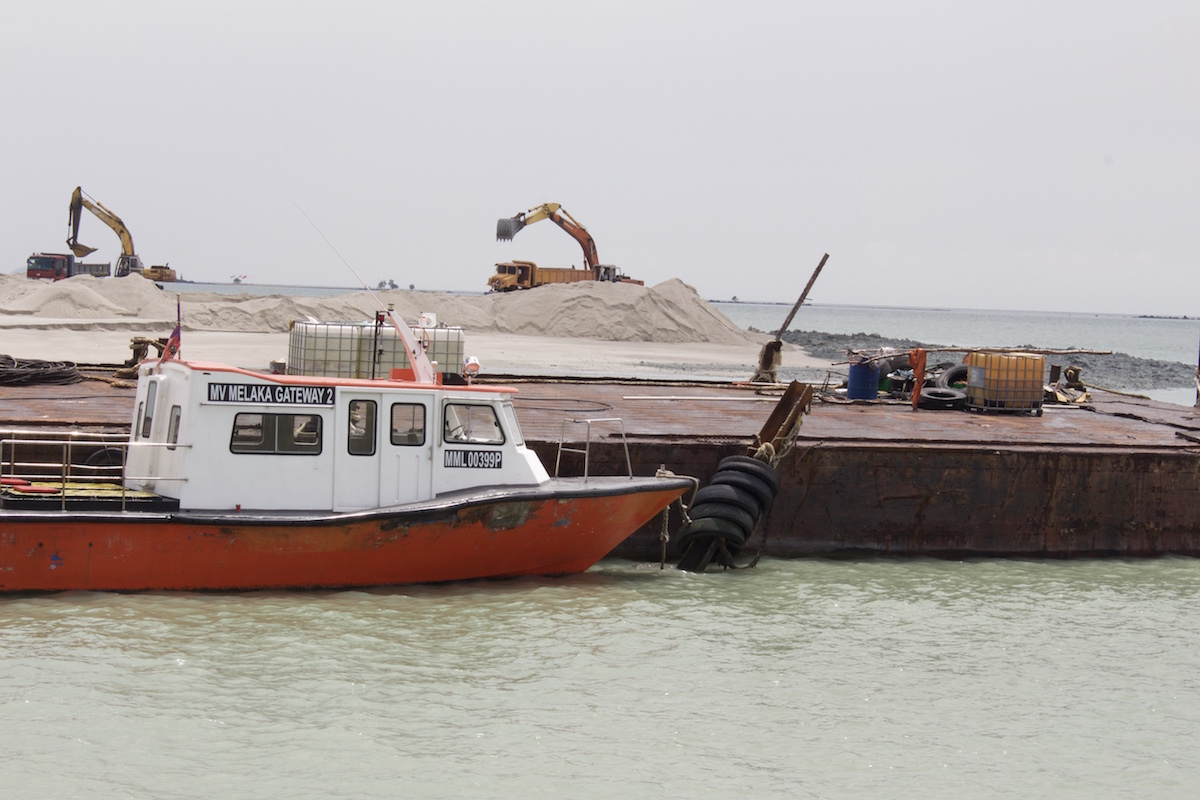 Land reclamation underway at the Melaka Gateway in the Strait of Malacca. Photo by Kate Mayberry.