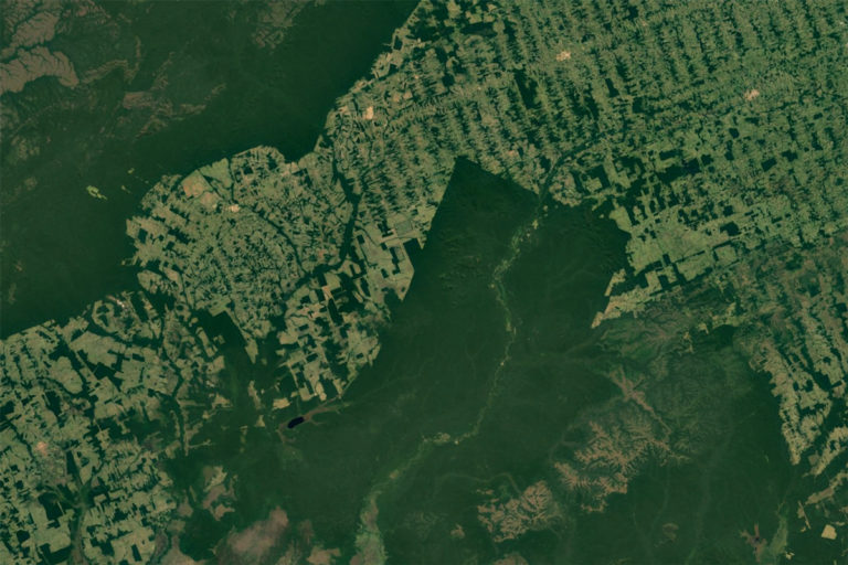 NASA / Google Earth satellite image showing deforestation in the Brazilian Amazon, São Miguel do Guaporé - State of Rondônia.