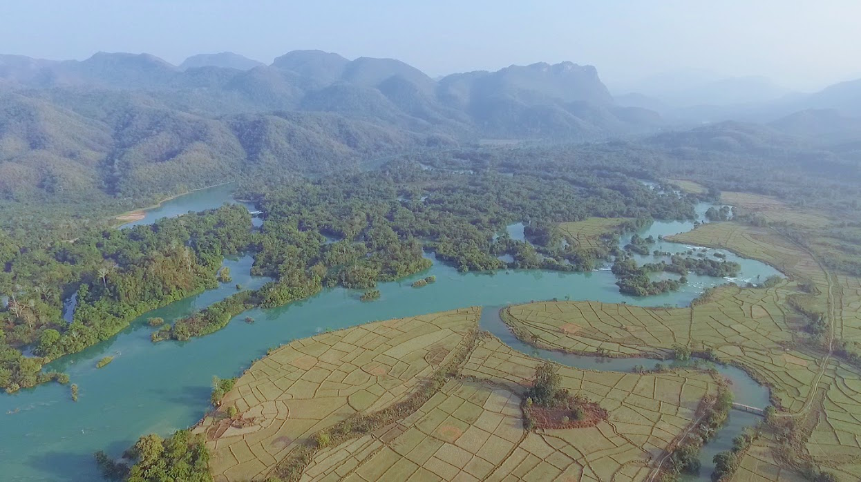 "Kunhing township's incredible ""thousand islands"" riverscape - forged from the Salween's main tributary in Shan state, the bright green Pang river - all this would be submerged under the giant Mong Ton dam's reservoir. Photo courtesy of Action for Shan State Rivers."