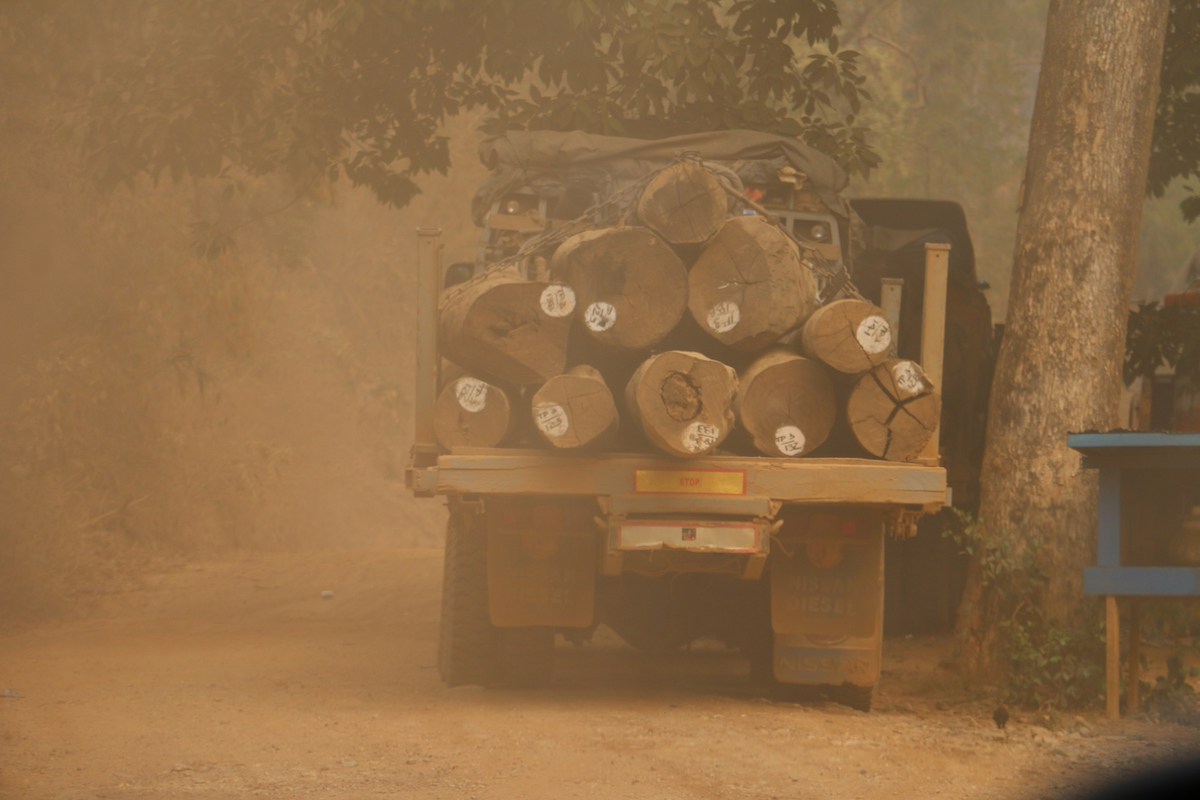 Logging trucks pictured at the Mong Ton dam site in March 2016 by the Karen Environmental Social Action Network. Photo courtesy of KESAN.