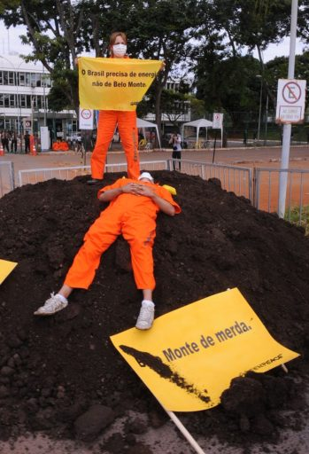 A 2010 Greenpeace protest against Brazil's Belo Monte dam. Such demonstrations are often designed to be visually dramatic, so as to attract TV cameras and gain media coverage, which helps build public awareness and opposition to ill-advised infrastructure projects. Photo by Roosewelt Pinheiro/Agência Brasil