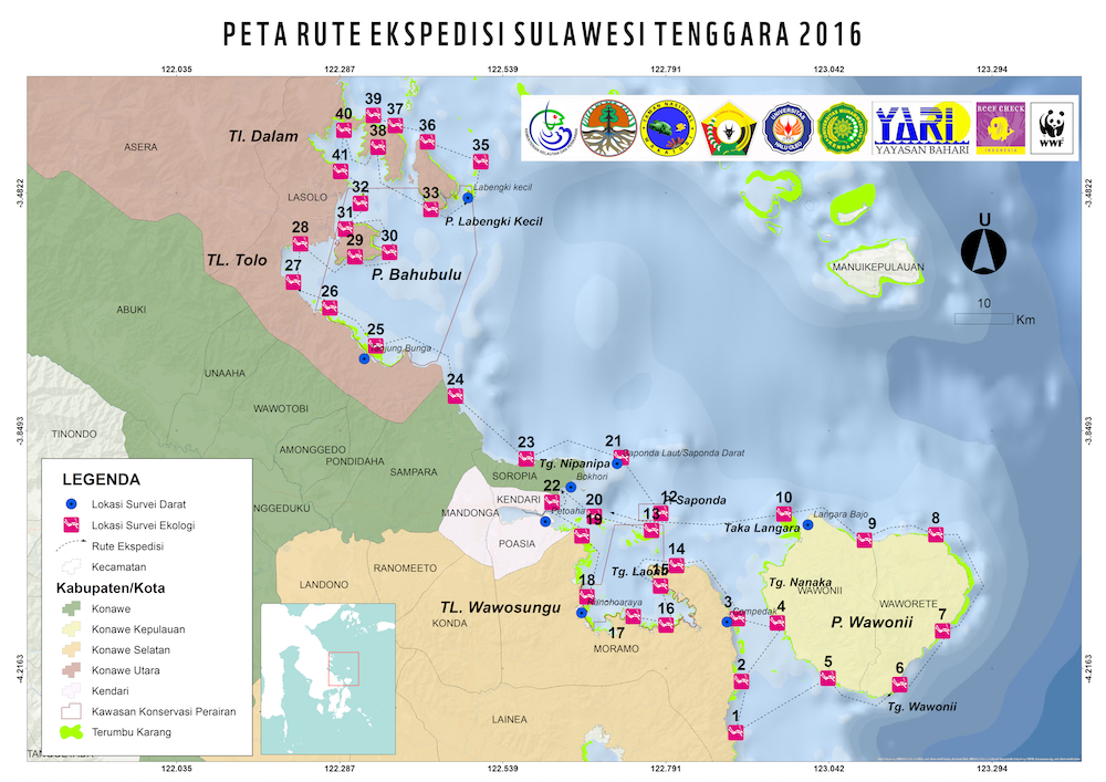A map, provided by WWF-Indonesia, showing research sites.