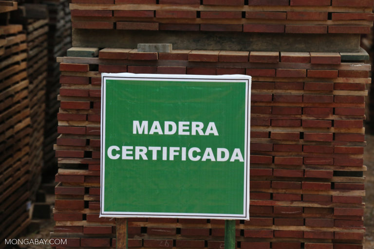 Certified timber in Peru. The CDP report cites the shortage of certified products as one challenge that companies face in fighting deforestation in their supply chains. Photo by Rhett A. Butler