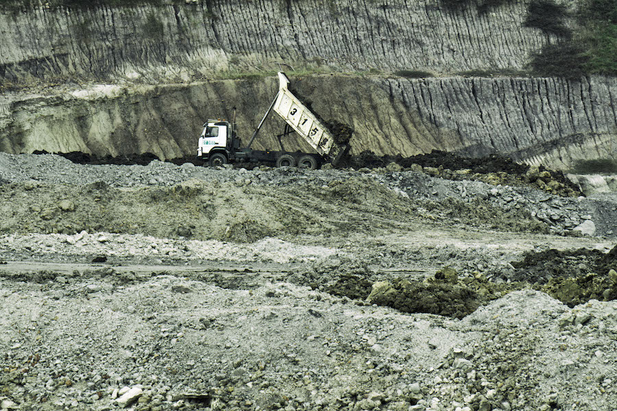A dump truck at a coal mine owned by Banpu Public Company Ltd in a paddy field in Kerta Buana village in Kutai Kartanegara, East Kalimantan. Photo courtesy of Ardiles Rante/Greenpeace.