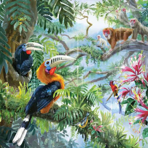 4-illustration-rufousneckedhornbills-stumptailedmacaques
