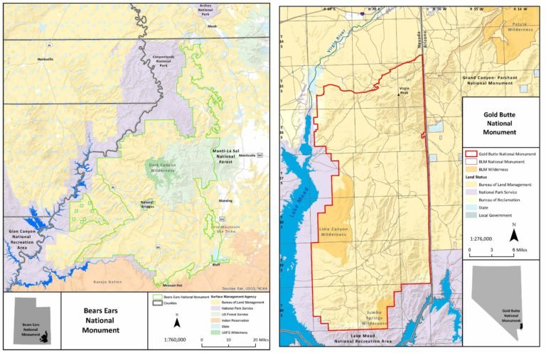 Left: Map of the Bear Ears National Monument, Right: Map of the Gold Butte National Monument. Maps courtesy of U.S. Department of the Interior, Bureau of Land Management.