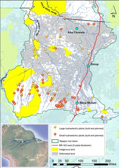 Indigenous land and planned and built hydroelectric dams in the northern portion of the Tapajós Basin in Mato Grosso state. Map by Mauricio Torres