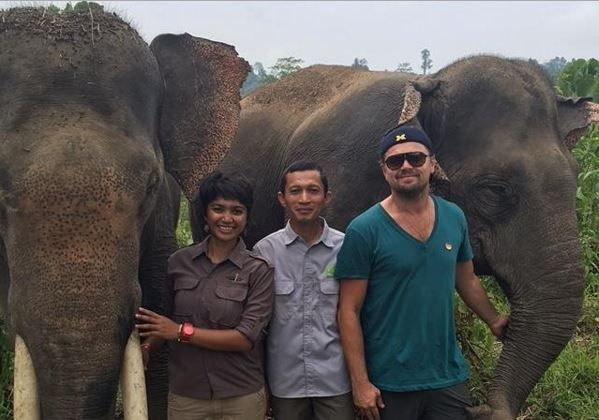 Leonardo DiCaprio, right, posted this photo on his Instagram page after his visit to Leuser last weekend. Farwiza Farhan, left, chairs Forest, Nature and Environment Aceh (HAkA), an NGO, and Rudi Putra, center, is a biologist who received the prestigious Goldman Prize in 2014