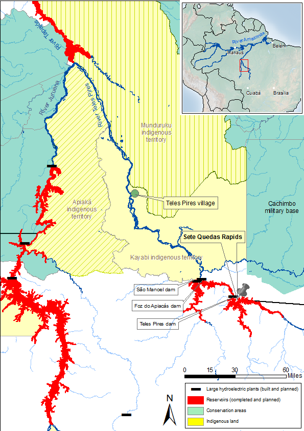 Map showing the reservoirs created by the Teles Pires River dams and their encroachment on indigenous lands. Map by Mauricio Torres