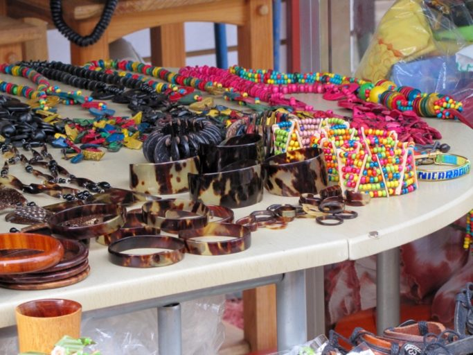 Vendors selling trinkets made from Hawksbill turtle shell. Photo by Paula von Weller - SEEturtles.org.