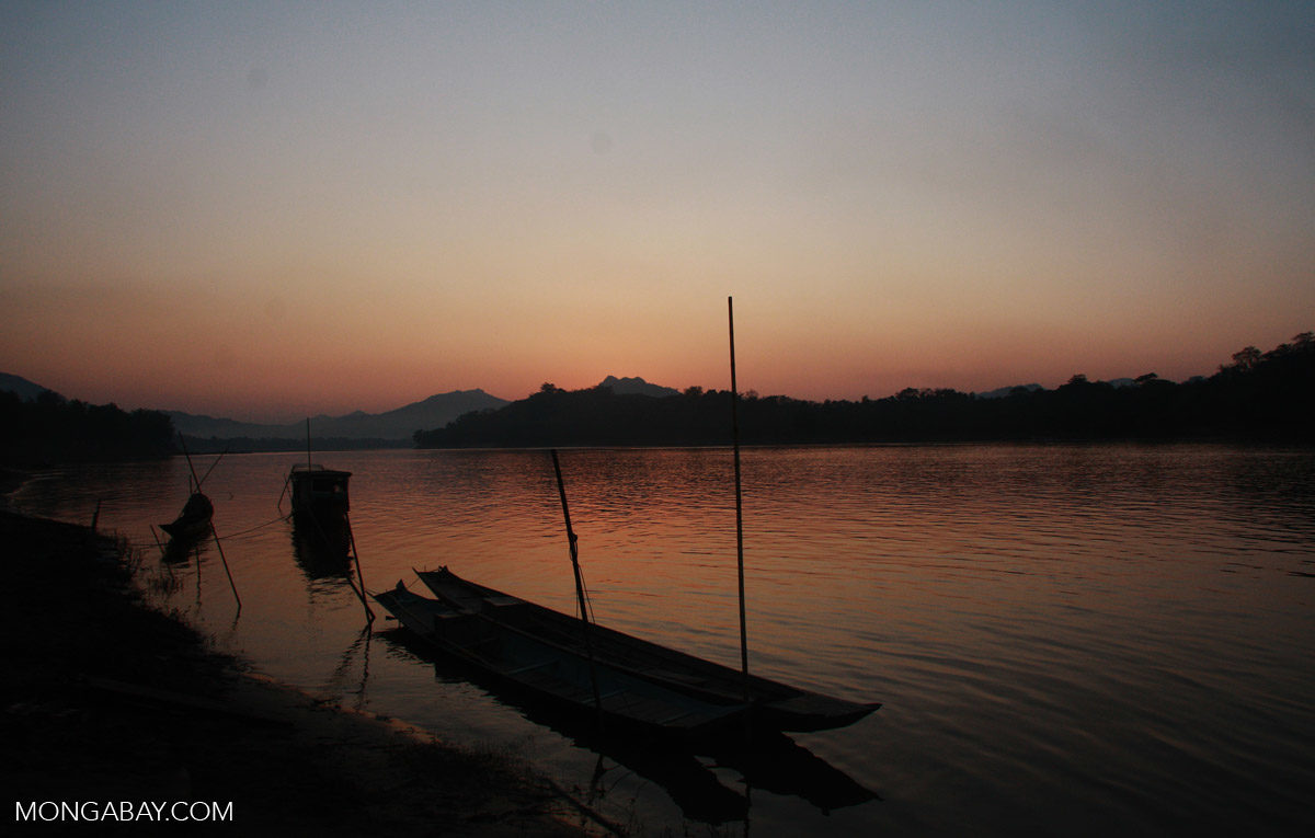 Riverboats moored along the shores of the Mekong River in Laos. Photo by Nancy Butler.