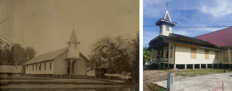Photos. The church in Laham ca. 1925 and now. A few changes but essentially the same building