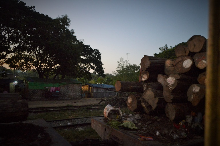 Logs in transit by train on the Mandalay to Myitkyina line. Photo by Poppy McPherson for Mongabay