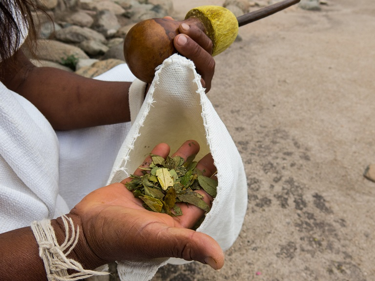 An Arhuaco man holds a bag of coca leaves and a poporo for grinding coca paste. Photo by Bram Ebus for Mongabay.