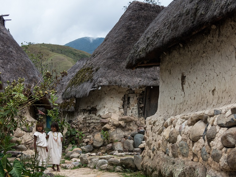 Arhuaco children in their village in the heart of the Colombian forest. Photo by Bram Ebus for Mongabay.