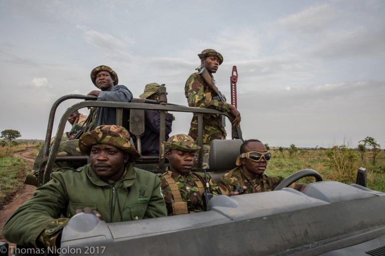 Park rangers on patrol in Garamba National Park in DRC earlier this month. Photo by Thomas Nicolon for Mongabay.
