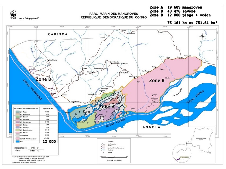 Map of the Marine Park in DRC. Courtesy of WWF.